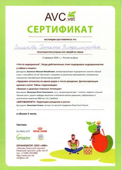 Изображение - Сертификат от AVC.vet